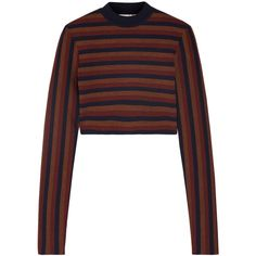 Victoria Beckham Cropped striped stretch wool-blend sweater found on Polyvore featuring tops, sweaters, stretchy tops, crop top, striped top, stripe top and striped sweaters