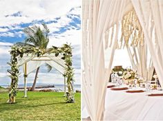 Simple and chic decor for outdoor wedding in Hawaii