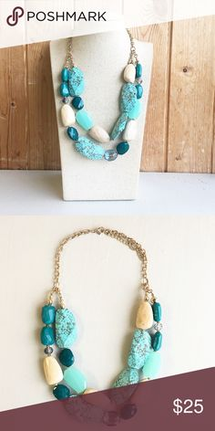 Handmade turquoise necklace Handmade double strand turquoise necklace. Lovely in person! H.W.L Boutique Jewelry Necklaces