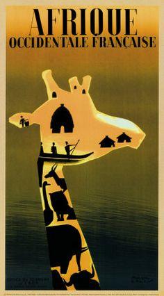 Afrique Occidentale Francaise, ca. 1948 ~ Fine-Art Print - Vintage African Travel Art Prints and Posters - Vintage Travel Pictures Retro Poster, Poster Ads, Vintage Travel Posters, Poster Prints, Kunst Poster, Cool Posters, Africa Travel, Vintage Advertisements, Vintage Art