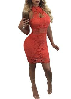 Luxury Lace Halter Bodycon Dress_Mini Dress_Dresses_Sexy Lingeire | Cheap Plus Size Lingerie At Wholesale Price | Feelovely.com