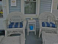 Beach House front porch vintage wicker