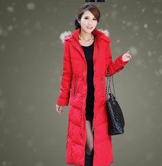 New Womens' KNEE Below Jacket LONG HOODED Ladies winter Puffer Parka down Coat