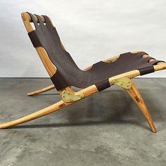 Dean Santner; Unique Oak and Leather Sling Chair, c1971.