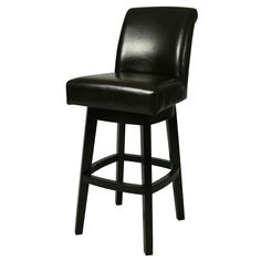 Add this swivel counter stool to your kitchen or dining area. This elegant stool features a Feher black finished wooden base and beautiful, brown leather upholstery. This Lake Village counter stool swivels for added convenience. Pastel Furniture, Bar Furniture, Furniture Deals, Furniture Outlet, Online Furniture, Black Bar Stools, Wood Bar Stools, Bar Chairs, Swivel Counter Stools