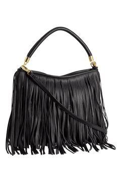Black Shoulder Bag With Fringe