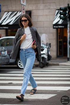 High waisted jeans with a boyfriend blazer and Birks.