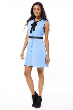 Blue Shirt Dress with Neck Tie Detail  �16.99