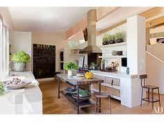 Center island - Patrick Dempsey's Beautiful Frank Gehry House| Malibu, Grey's Anatomy, Patrick Dempsey