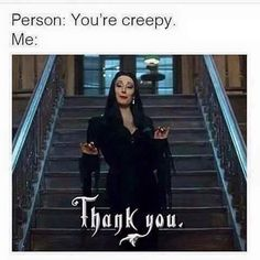 When people compliment you. Tag a creepy friend. #Addamsfamily #Addams #Morticia #Morticiaaddams #Film #Movie #Classic #Horror #Scary #Black #Creepy #Gothy #Allblack #Alldayeveryday #Creeps #October #Halloween #Suavecita #Suavecitabeauty #Beauty