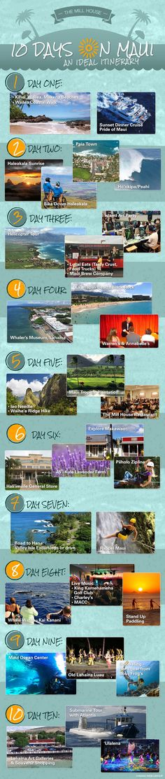10 Day Maui Itinerary Whole days can disappear in such blithe, beachy bliss that your entire vacation can pass by in the blink of an eye. Prepare to relish every minute of your hard-won break with this ultimate guide to your ten-day stay. Trip To Maui, Hawaii Vacation, Maui Hawaii, Kauai, Vacation Trips, Hawaii 2017, Vacation Ideas, Hawaii Usa, Maui Travel