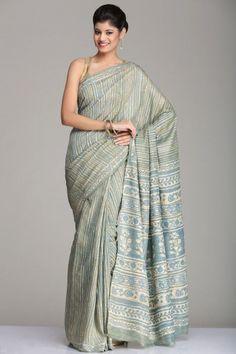 Smart Blue & Green Tussar Silk Saree With Multicolored Striped &…