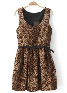 Leopard Scoop Neck Sleeveless Pleated Sundress