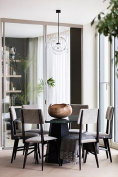 Modern Monochrome Dining Area - Sophie Ashby, Modern Flat in Real Homes on HOUSE. See before & after this city flat was transformed by Sophie Ashby