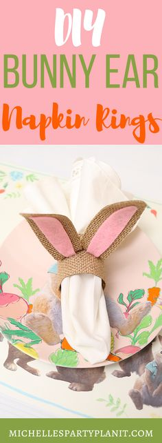 Spring has sprung with these DIY Bunny Ear Napkin Rings made easily with the Cricut Maker, Burlap and Felt. #Easter #Spring