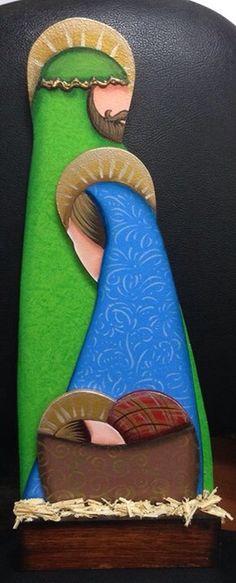 Nacimiento en pintura artesanal sobre madera   By SorMed