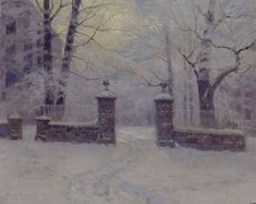 Lovell Birge Harrison, Cathedral Gates in Winter | Dark Classics John Singer Sargent, Native American Photos, American Artists, A4 Poster, Poster Prints, Australian Painters, Painting Snow, Piet Mondrian, Snow Scenes
