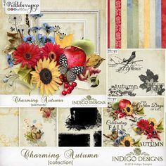 Charming Autumn Collection plus FWP by Indigo Designs. Celebrates the golden days of fall with blue skies, yellow sunflowers and crisp red apples. This cheerful kit combines the bright colors of fall in soft sunlight with slightly shabby elements and papers.