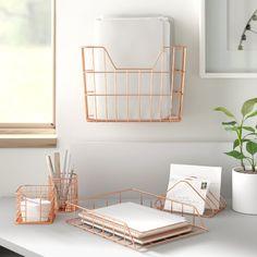 Dotted Line™ Amanda Wire Metal 5 in 1 Desk Organizer Set Finish: Copper Hanging File Organizer, Desk Organizer Set, Organizers, Display Shelves, Storage Shelves, Storage Spaces, Tv Shelf, Pencil Cup Holder, Folder Holder