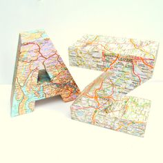 Study Decoration Office Ornament A to Z Map Covered Book Shelf Ends Gift For Traveller New Home Present on Etsy, $24.00