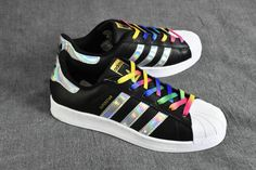 Chaussures De Course 2017 Adidas Superstar J RainBow noir/Black