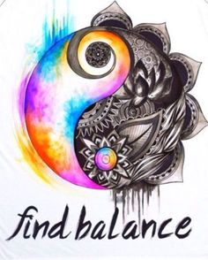 Beautiful and colorful that turns to black and white detailed ying yang. Balance is important