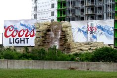 This Billboard Is So Awesome — Dallas made it a Landmark! Coors Light, Light Beer, Pushing Boundaries, Billboard, Dallas, Waterfall, Awesome, Poster Wall, Waterfalls