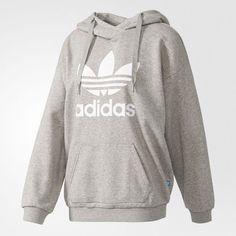 adidas Trefoil Hoodie - Grey | adidas UK ($61) ❤ liked on Polyvore featuring tops, hoodies, grey hoodies, hooded sweatshirt, adidas top, grey hoodie and gray top
