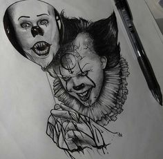 PENNYWISE WITH A PENNYWISE BALLOON .