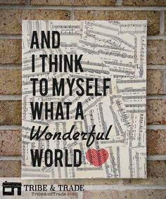 What A Wonderful World - Typography Canvas Art Vintage Sheet Music Lyrics - Louis Armstrong