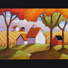 12x16 Farm Field Original Modern Folk Art Landscape Abstract Painting Horvath | eBay