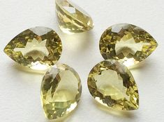 20X14mm Pear Lemon Loose Cabochon Lot Faceted by gemsforjewels