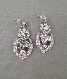 Bridal Rhinestone Earrings Crystal Wedding  by SukranKirtisJewelry, $34.00