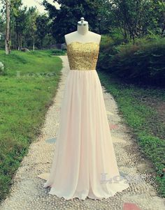 Aline Chiffon gold sequins Long Prom Dresses by LovePromDress, $182.99