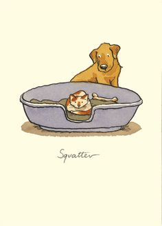 Illustration by Anita Jeram Anita Jeram, Funny Animals, Cute Animals, Cat Dog, Dog Illustration, Dog Art, Crazy Cats, Cute Art, Cats And Kittens
