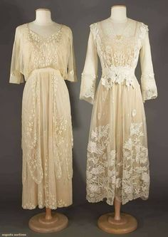 1915 c. (L.) and 1919 c. (R.) cotton tulle summer afternoon frocks. From Augusta Auctions.