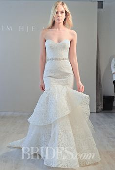 Brides: Jim Hjelm - Fall 2014. Style 8456, strapless ivory and gold Chantilly lace trumpet wedding dress with a sweetheart neckline and layered skirt, Jim Hjelm