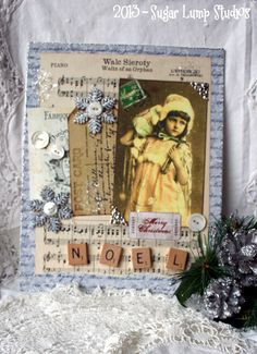 Christmas Wishes Altered Mixed Media collage on 8 x 10 mounted on canvas with holiday embellishments
