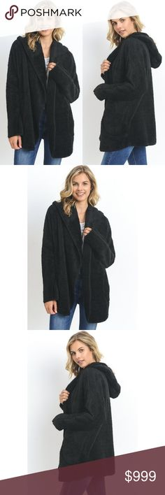 Faux Fur Jacket Coat Black Cuddly Soft Hooded FALL Plush Faux Fur Jacket Coat New Black or Olive Cuddly Soft Fall Winter Cuddly Soft  Olive coming later  Features:  poly black is a true black-not charcoal or gray pockets hooded hand wash or dry clean for best care model is 5'8 and wearing the small oversize fit dolman sleeves-bust is as wide as the body of the coat very soft  Measurements, laying flat (inches):  bust: 24 small, 25 medium, 26 large length: 28, 28, 29 Sofi + Sebastien Jackets…