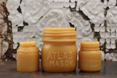 """Beeswax Candle Collection - antique bottle shaped - """"Atlas Mason Jar, Vaseline and Milk Weed Cream"""" - by Pollen Arts - Md. Bee Do, Beeswax Candles, Candle Set, Vaseline, Healthy Alternatives, Candle Making, Mason Jars, Shapes, Antiques"""