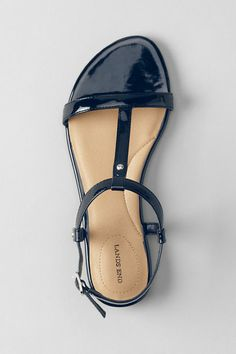 Women's Naomi Flat T-strap Sandals from Lands' End