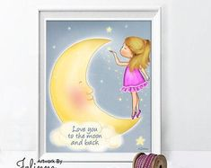 Love you to the moon and back posterGirl bedroom wall art | Etsy