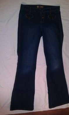 Lei Jeans Sz 9 Stretch Dk Wash Denim Juniors Boot Cut Snap Front 2 Pocket Women