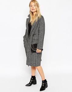 Pilkas midi ilgio paltas moterims   ASOS - ASOS.com   ShopSpy.lt