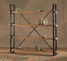 Metal stand with four adjustable wood shelves. Find this style and many more at The Tin Roof and Concept Home in Spokane, WA. #shopthetinroof #modernspokane #buylocal #shopsmall #vanguard