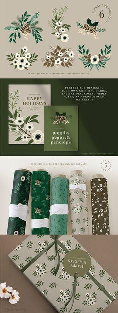 #christmas #winter #botanicals #botanical #illustrations #vector #elegant #floral #florals #floralframes #patterns #seamlesspatterns #christmaspatterns #floralpatterns #roughedgessupply