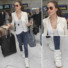 Irina Shayk's Travel Style: High-Top Sneakers   Leather Jacket