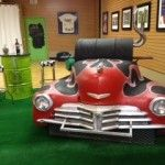 1948 Chevy Fleetmaster charcoal grill. This grill is sure to be the hit of any tailgate or backyard BBQ. Designed to be easily moved with an...