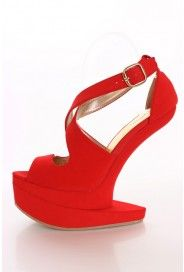 Red Soft Faux Suede X Strap Anti Gravity Wedge Pink Wedges, Cute Wedges, Anti Gravity, Gladiator Heels, Wedge Shoes, Sexy, Stuff To Buy, Style