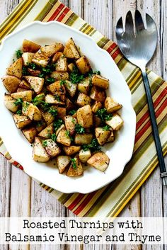 Turnips don't get much respect, but these Roasted Turnips with Balsamic Vinegar and Thyme are delicious and this recipe is low-carb, Paleo, Whole gluten-free, and South Beach Diet friendly! Low Carb Side Dishes, Healthy Side Dishes, Vegetable Side Dishes, Side Dish Recipes, Tasty Dishes, Veggie Side, Paleo Recipes Easy, Vegetable Recipes, Vegetarian Recipes